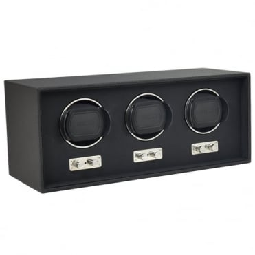 Black Leather 3pc Watch Winder 71119