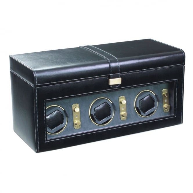 Black Leather 3pc Watch Winder & 8pc Watch Holder 70870