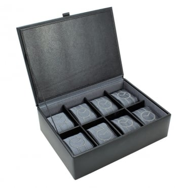 Dulwich Designs Black Leather 8pc Watch Box 70909