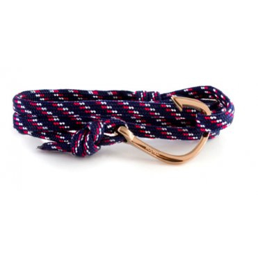 Blue, Red, White Paracord & Rose Gold Bracelet HRR93