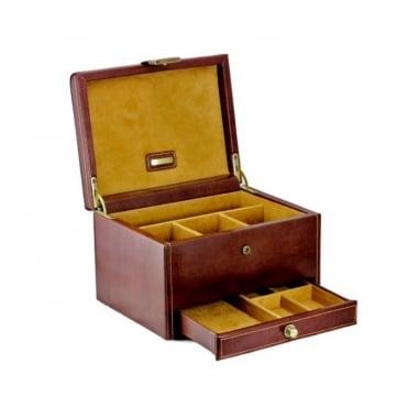 Dulwich Designs Brown Leather 3pc Watch & Cuff Link Box 70881