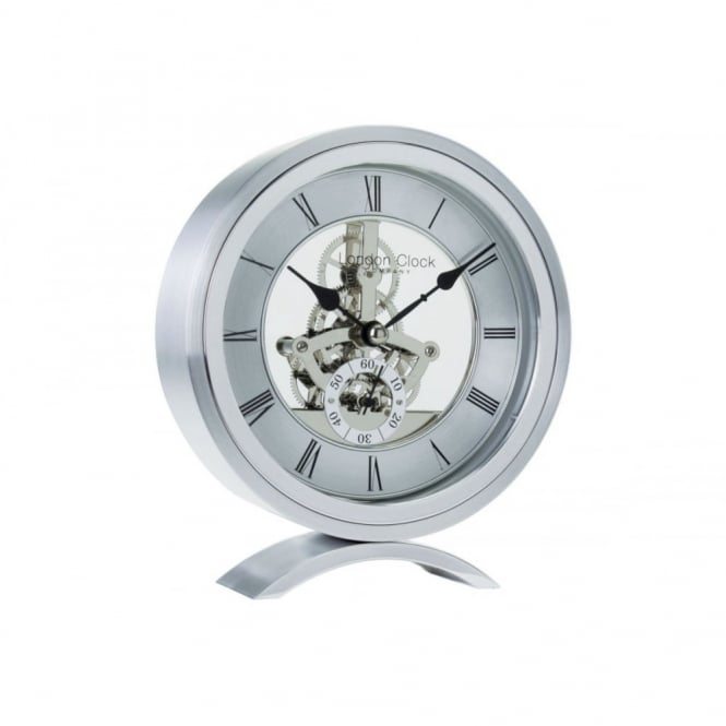 Brushed Silver Skeleton Round Mantel Clock 04113