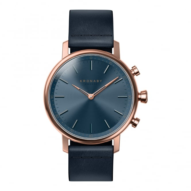Carat Rose Gold Case Blue Leather Strap A1000-0669
