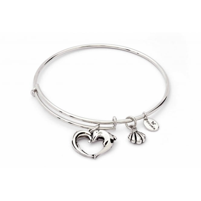 Charmed Rhodium Plated Aphrodites Heart Bangle CRBT1804SP