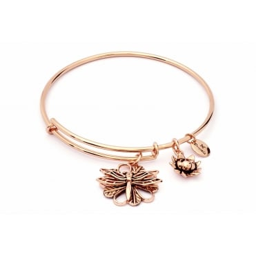 Charmed Rose Gold Plated Dragonfly Bangle CRBT1811RG