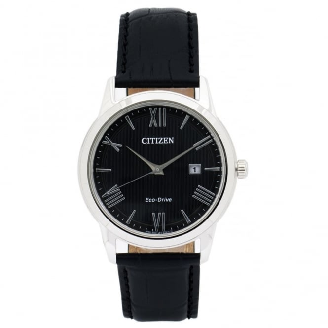 Citizen Gent's S/Steel Black Leather Eco-Drive Watch AW1231-07E