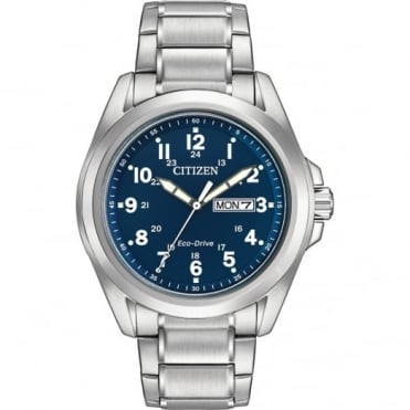 Gent's Stainless Steel Eco-Drive Watch AW0050-58L