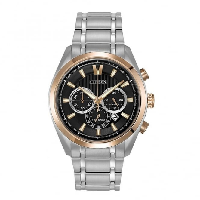 Citizen Gent's Titanium & Rose Gold Chrono Watch CA4017-59E