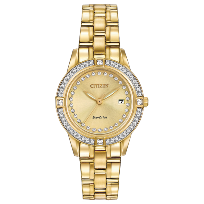 Ladies' Gold Plate Stone Set Eco-Drive Watch FE1152-52P