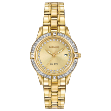 Citizen Ladies' Gold Plate Stone Set Eco-Drive Watch FE1152-52P