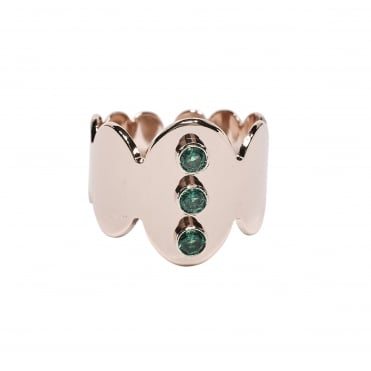 Crown, 3 Stone (Green) Pink Gold Ring BA-59.P