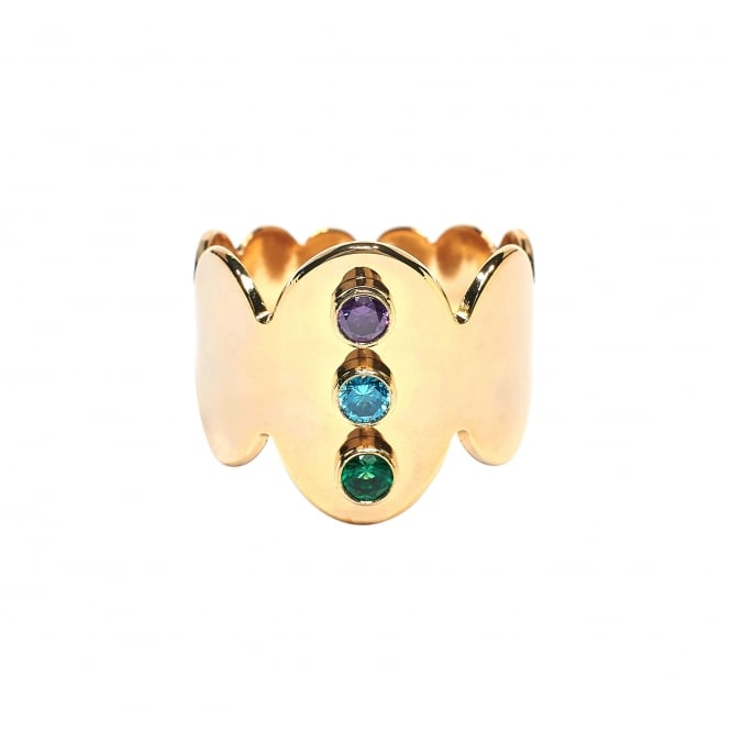 Crown, 3 Stones (Purple, Turquise, Green) Gold Ring BA-58.G
