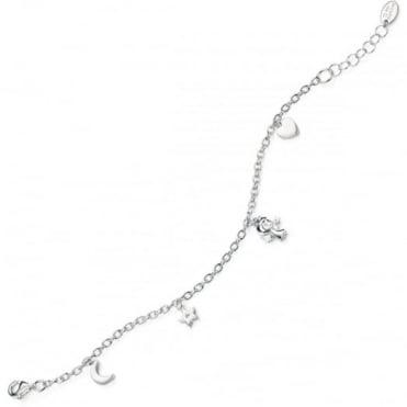 D for Diamond Silver Angel, Heart, Moon And Star Bracelet B4599