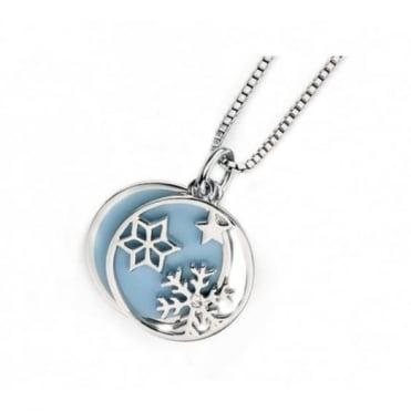 D for Diamond Silver Blue Snowflake Pendant & Chain P4338