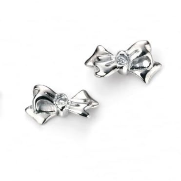 D for Diamond Silver Bow Earrings E5154