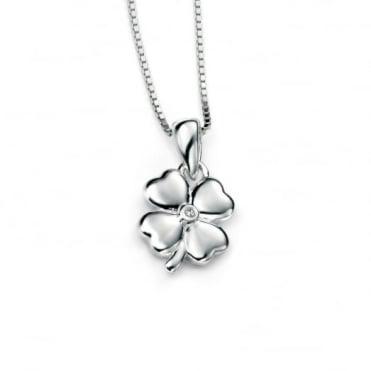 D for Diamond Silver Clover Pendant & Chain P4101