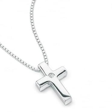 D for Diamond Silver Cross & Chain P2412