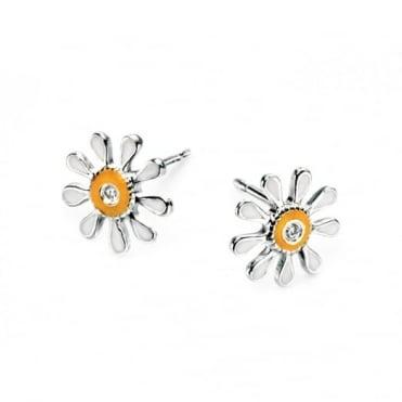 D for Diamond Silver Enamel Daisy Earrings E3913