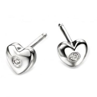 D for Diamond Silver Heart Earrings E572