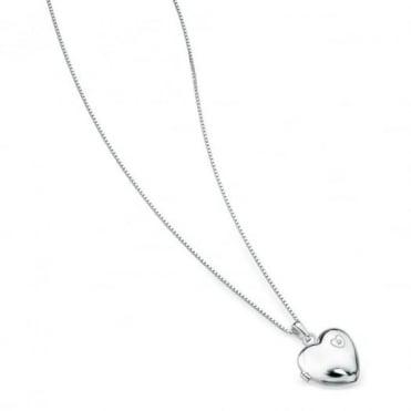D for Diamond Silver Heart Locket & Chain P2548