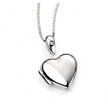 D for Diamond Silver Heart Locket & Chain P3892