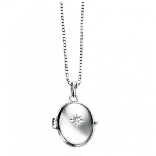 Silver Oval Locket & Chain P4252