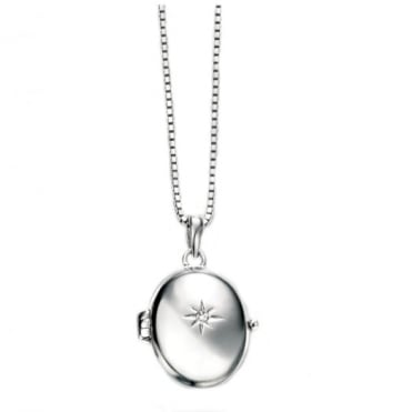 D for Diamond Silver Oval Locket & Chain P4252