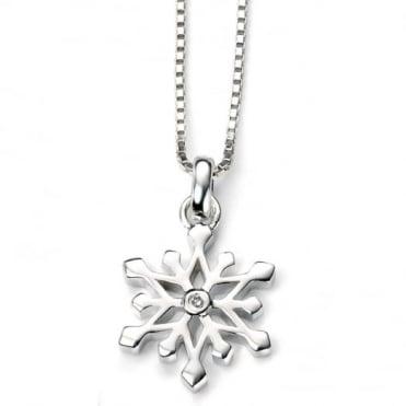 D for Diamond Silver Snowflake Pendant & Chain P4185