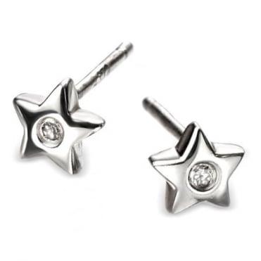 D for Diamond Silver Star Earrings E573