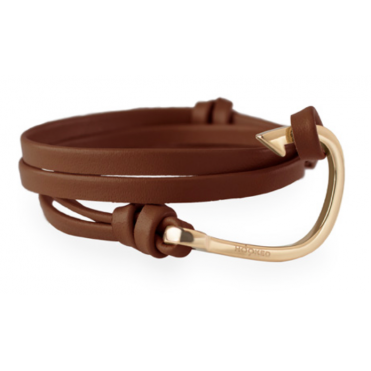 Dark Brown Leather & Rose Gold Bracelet HRL3