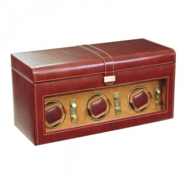 Dulwich Designs Brown Triple Watch Winder & 8 Watch Holder 70885