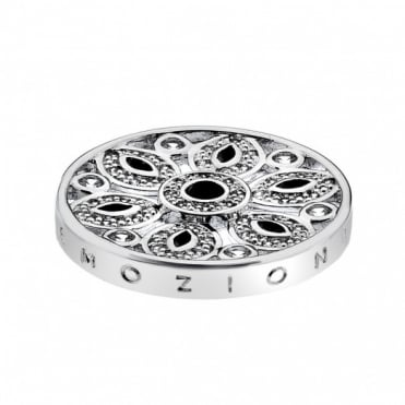 Emozioni 25mm Silver Girasole Black Coin EC199