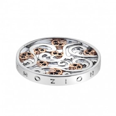Emozioni 25mm Silver & Rose Gold Plate Edera Coin EC189