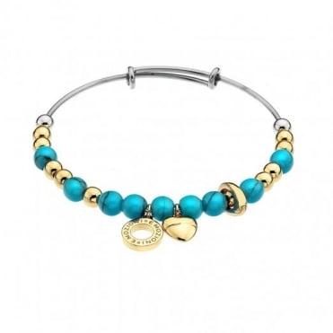 Gold & Plate Turquoise Bangle Large DC134