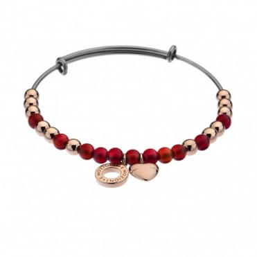 Emozioni Rose Gold Plate Red Bangle DC106