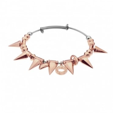 Emozioni Rose Gold Plate Spike Bangle DC149