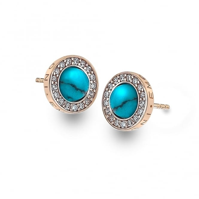 Rose Plate Giove Turquoise Earrings DE463