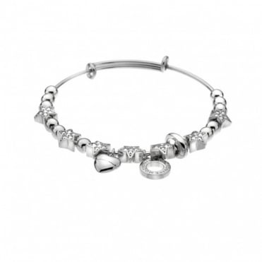 Silver Plate Crystal Star Bangle DC143