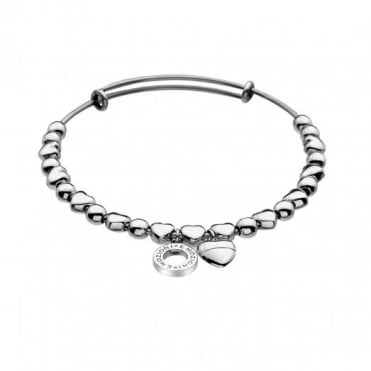 Emozioni Silver Plate Heart Bangle Large DC120