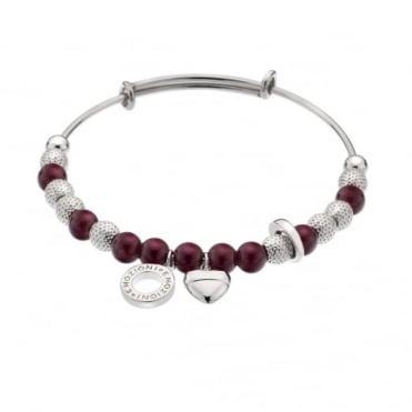 Emozioni Silver Plate Plum Ula Bangle DC158