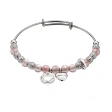 Silver Plate Rose Quartz Ula Bangle DC159