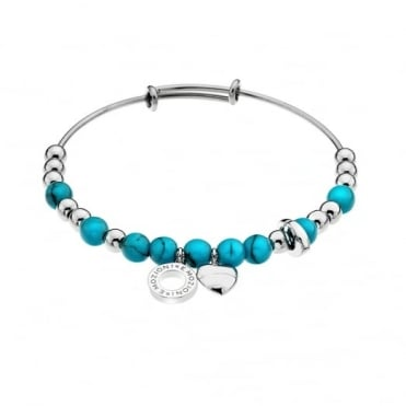 Silver Plate Turquoise Bangle DC132