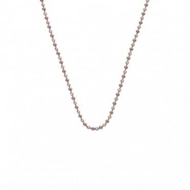 "Emozioni Silver & Rose Gold Plate 30"" Bead Chain CH020"
