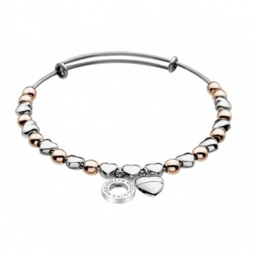 Silver & Rose Plate Heart Bangle DC096