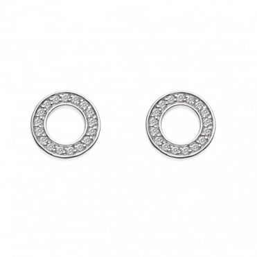 Emozioni Silver Saturno CZ Stud Earrings DE408