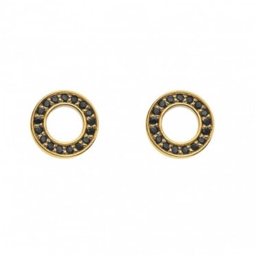 Yellow Gold Plate Nero Saturno Black CZ Stud Earrings DE407