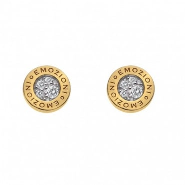 Emozioni Yellow Gold Plate Pianeta CZ Stud Earrings DE404