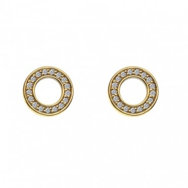 Yellow Gold Plate Saturno CZ Stud Earrings DE410