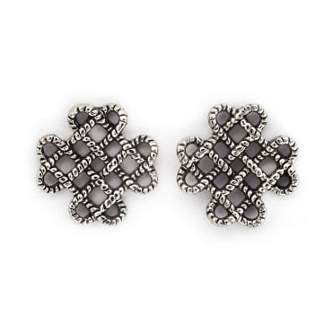 Endless Knot Rhodium Plated Earrings CRET0410AS