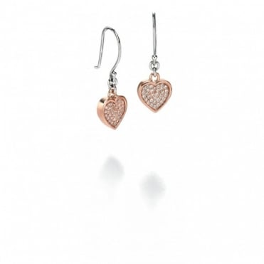 Rose Plate CZ Set Heart Earrings E4674C